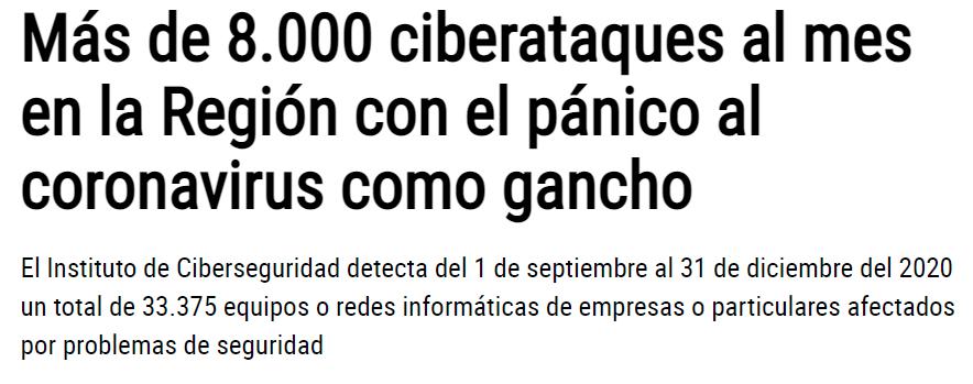 Más de 8.000 ciberataques al mes en la Región